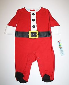 New Childz Play SANTA CHRISTMAS Red Sleeper Pajama 3-6 Months One Piece Snaps