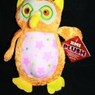 "New BMI OWL Orange Green Yellow Neon Plush 7"" Stuffed Animal Toy Felt Ears Tail"