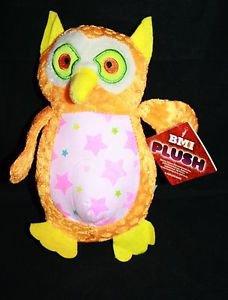 "New BMI OWL Orange Green Yellow Neon Plush 7"" Stuffed Animal Toy Felt Ears Tail"