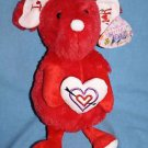 National Entertainment I Love You Red Plush MOUSE Valentine Ears Heart Soft Toy