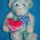 Walmart Valentines Day TEDDY BEAR Aqua Blue Tipped Plush Heart Soft Toy Stuffed