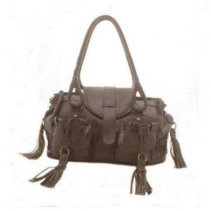 Designer Double Pocket Shoulder Bag (Dark Brown)