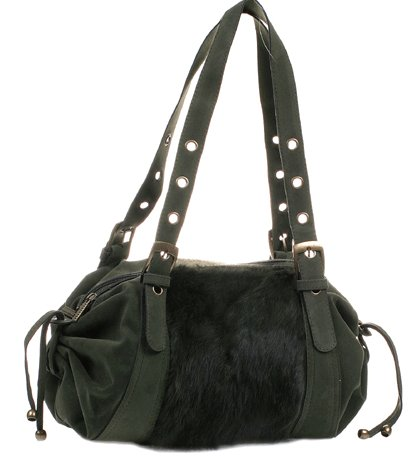 Faux fur handbag purse adjustable strap