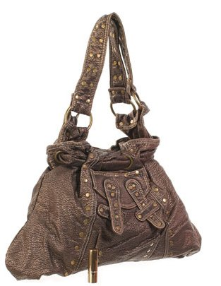 brown gold studded purse handbag double strap