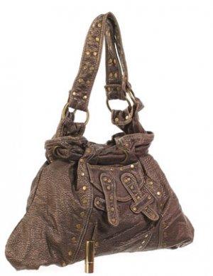brown gold studded purse handbag double strap