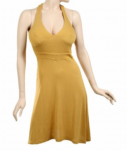 mustard yellow gold halter dress medium 8-10