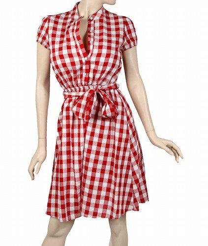 Retro 50's 60's retro style cotton and linen dress red/white