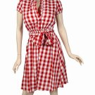 Retro 50's 60's retro style cotton and linen dress red/white medium 6/8