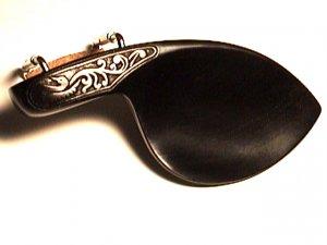 43103 Carved Swan Ebony Chr or Gldn Violin Chinrest