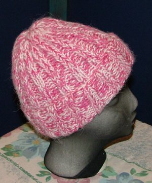 Pink faux angora hat