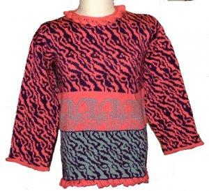 Wool elephant sweater, loomknit, small