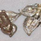 Silver Tone Rhinestone Leaf Shoe Scarf Tie Clips