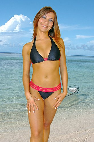 34 (XS).Beautiful, new Prestige, Zanzibar bikini, triangle top