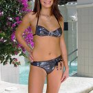 (M) 38. Beautiful, new Prestige, Orchidea black metal bikini, bandeau top, thong. Free shipping!