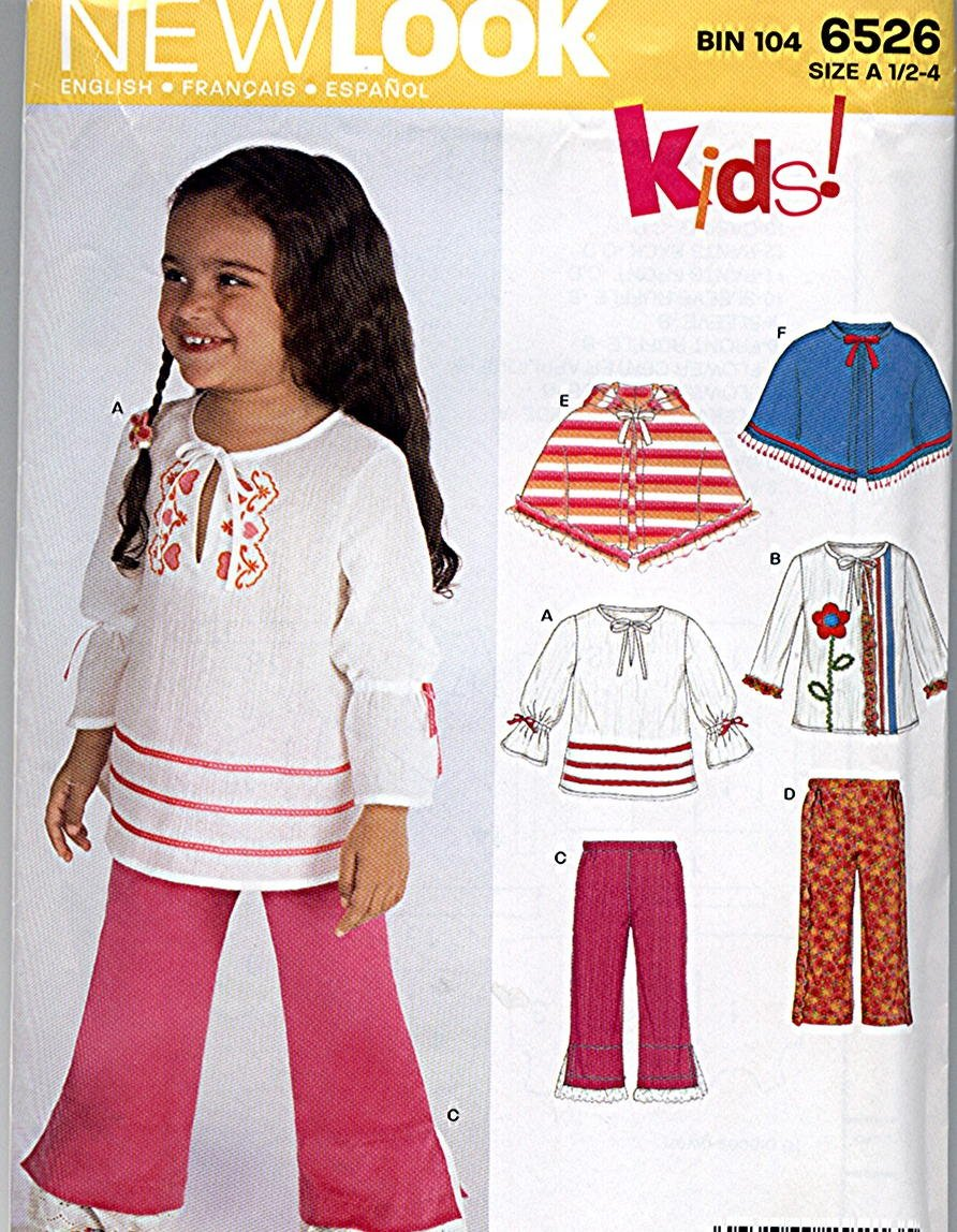 baby n Toddler Girls Top Pants Poncho size 1/2 1 2 3 4 Simplicity 6526