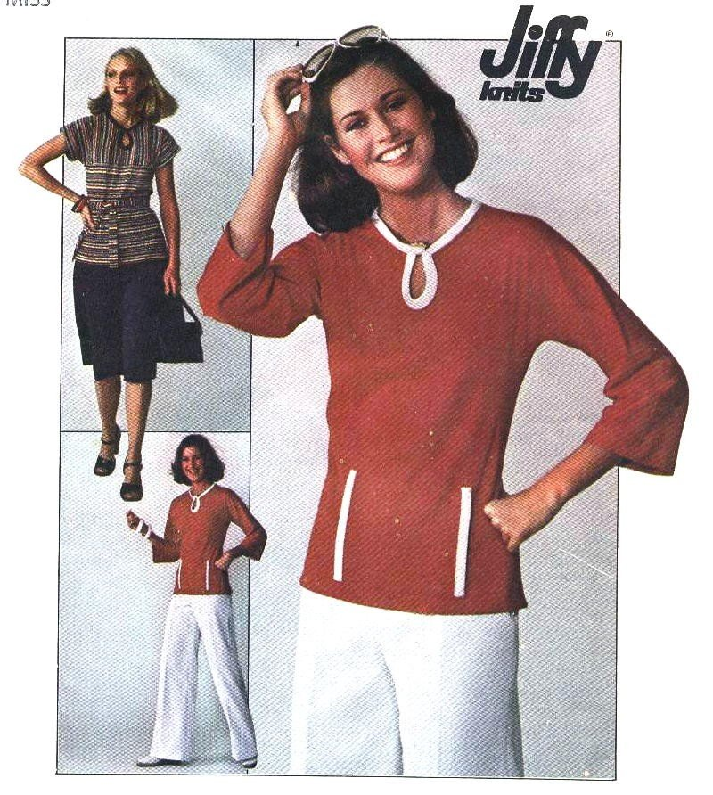 70s Vintage Jiffy Knit Skirt and Pullover Top Pattern size 16 bust 38 Simplicity 7874