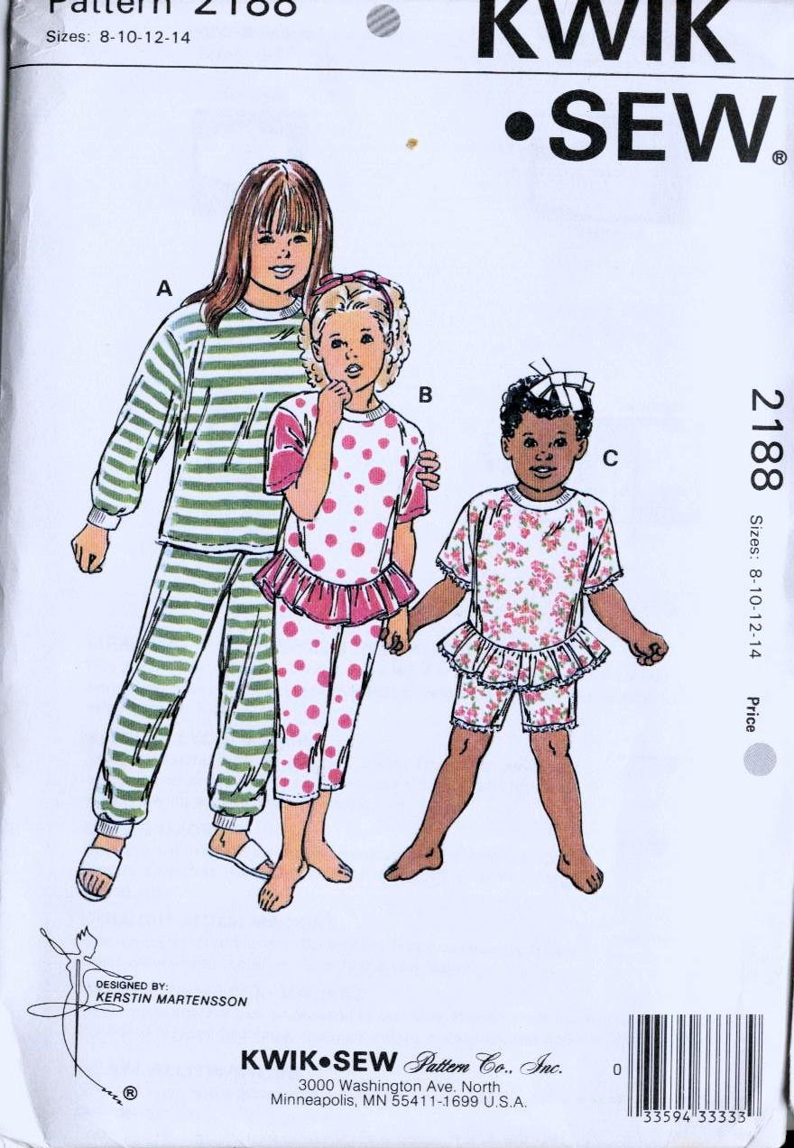 Pajamas sewing pattern Girls 8 10 12 14 Kwik Sew 2188