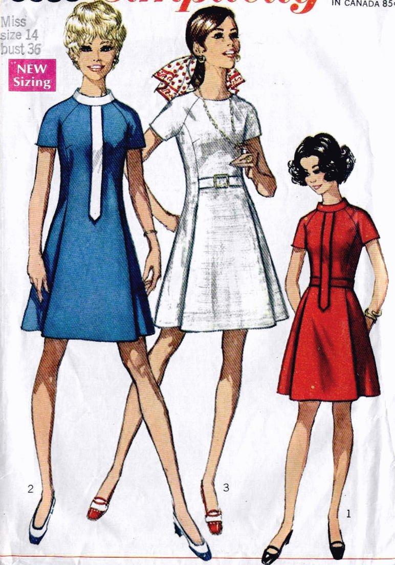 Raglan Sleeves Dress size 14 bust 36 Simplicity 8088