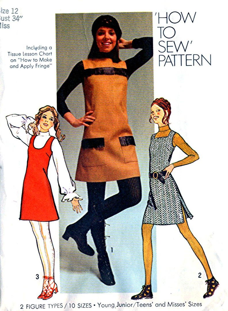 1970s Mini-Jumper Dress miss vintage sewing pattern Simplicity 9526