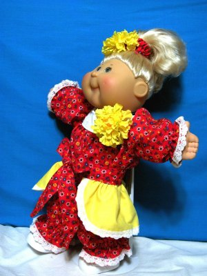 Romper w/ OVERLAY-SKIRT n Headband Clothes for your Cabbage Patch Doll, Baby Alive
