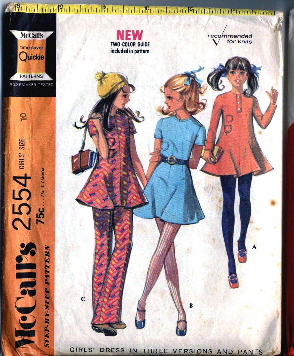 Tunic Top, Dress, Pants Retro 70s sewing pattern McCalls 2554