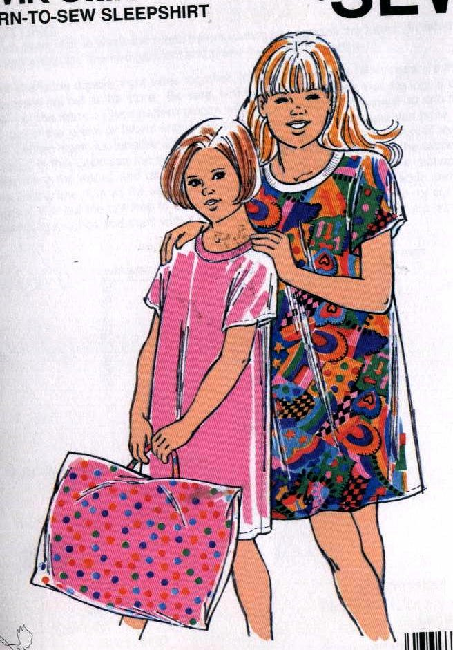 Sleepshirt, Pillowcase Take Along Bag girls sewing pattern 8-10-14-16 Kwik Sew 2322