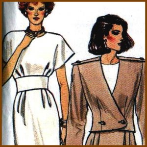 1980s Wide Band Dress n Jacket Butterick 3628