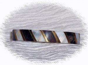 vintage Jewelry Womens Mother-of-Pearl, Black Bone, Gold Tone Bangle Bracelet