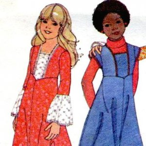 1970s FLARED SLEEVED Angled Yoked Girls Dress or Top size 7 vintage sewing pattern McCalls 5397