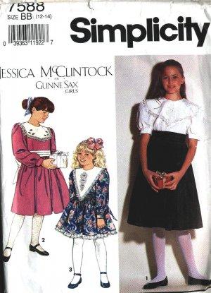 Gunna Sax Dress girls 12 - 14 vintage sewing pattern Simplicity 7588