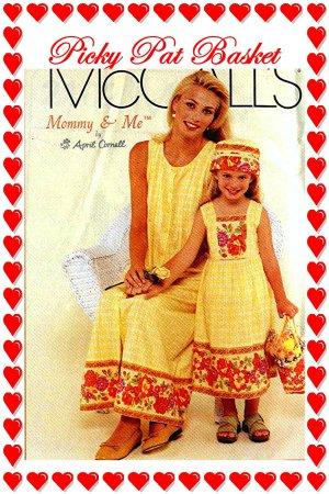 McCalls 2102 Women n Girl DRESS Hat Bag ( pocketbook tote )