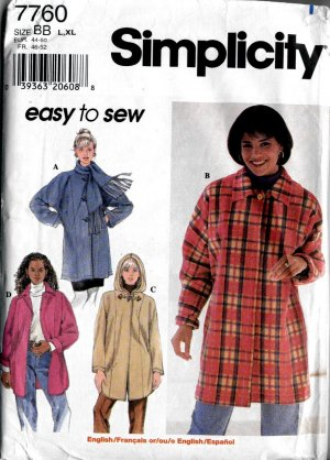Womans Hooded coat or Collar - Simplicity 7760