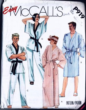 Asian Style Misses Mens Robe Pants Belt McCalls P919
