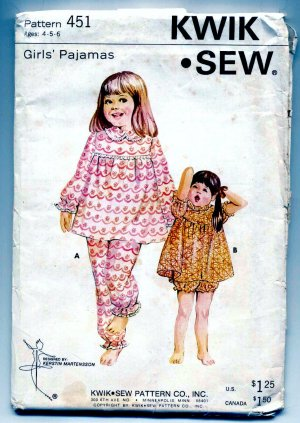 Kwik Sew Girks Pajamas Top Panties 451