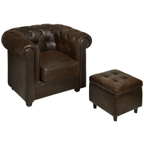 CHESTERFIELD WING CHAIR+STORAGE FOOTSTOOL