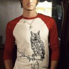 Large Mens STEAM PUNK Owl TeeShirt raglan jersey