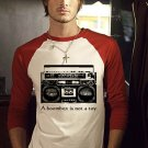 Large A Boombox Is Not A Toy mens funny t shirt base ball shirt boom box