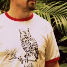 Medium Mens STEAM PUNK Owl Red Ringer White Tee Shirt T-Shirt