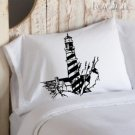 Black Lighthouse Nautical Pillowcase pillow cover