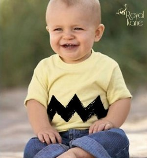 18 month Cartoon Charlie Yellow Black Zig Zag kids boys girls infant toddler t shirt