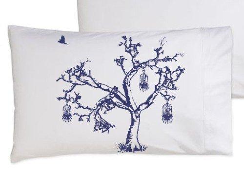 Birds of Freedom Tree Bird Cage Navy Blue Oak Tree bedding NEW white pillowcase