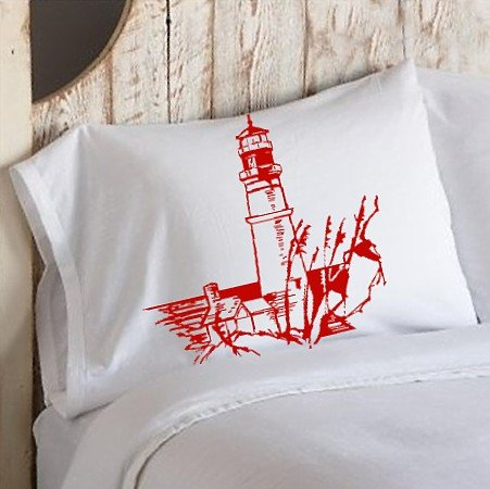 Nautical White Pillowcase pillow cover Red Light house lighthouse coast