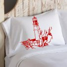 Nautical White Pillowcase pillow cover Red Light house lighthouse coast