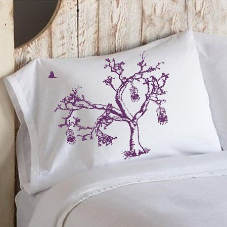 Birds of Freedom Tree Cage Violet Purple Oak Tree bedding pillowcase