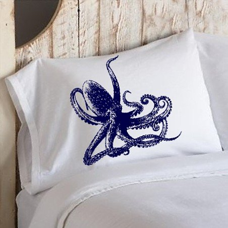 Navy Blue Octopus Ocean Beach Nautical Pillowcase pillow cover