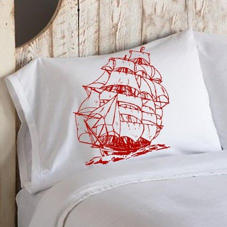 Red Nautical Tall Clipper Ship Sailboat Pillowcase Pillow Cover