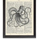 Octopus Crazy Printed On 1900's Dictionary Page 8x10