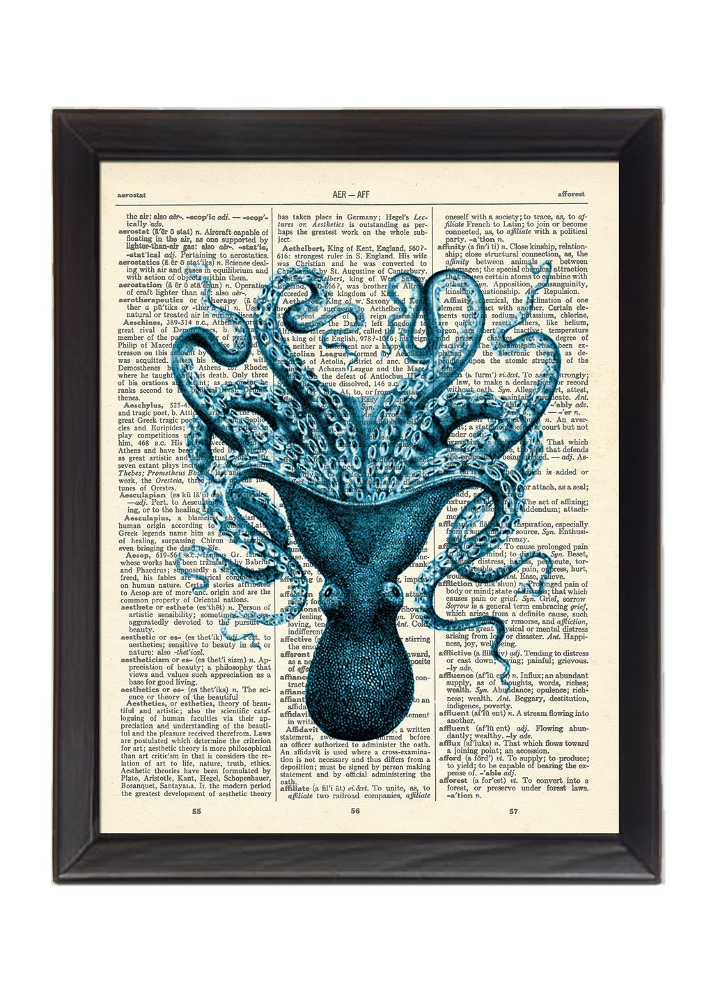 Blue Octopus Printed On 1900's Dictionary Page 8x10