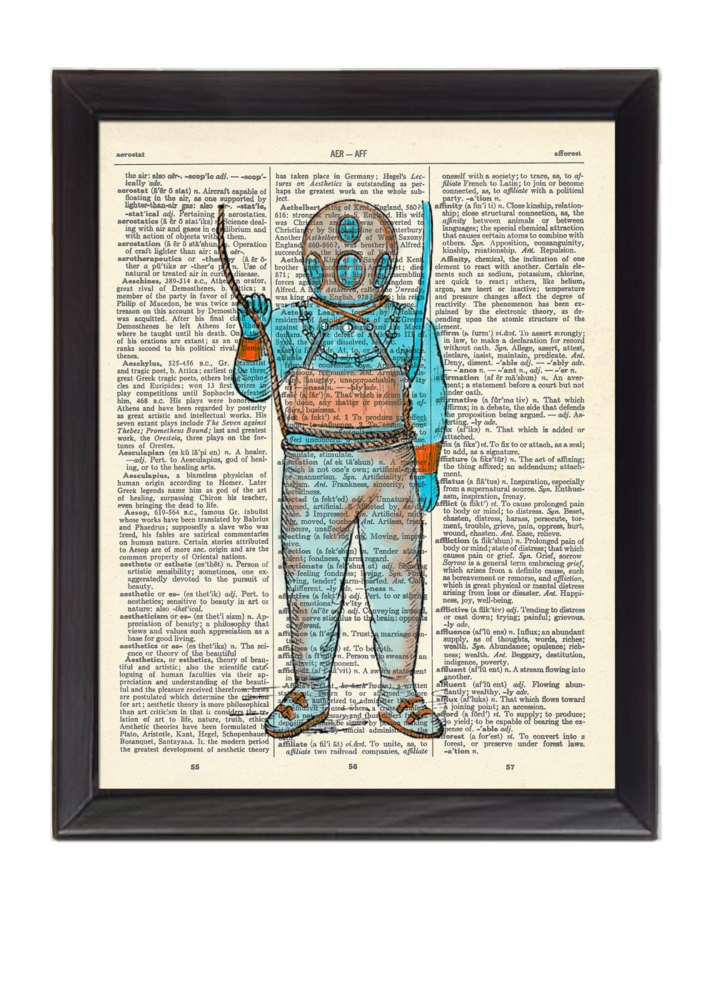 Painted Scubadiver Guy by SoKe Printed On 1900's Dictionary Page 8x10
