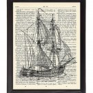 Clipper Ship Printed On 1900's Dictionary Page 8x10